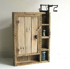Reclaimed weathered wood cabinet. $154.00, via Etsy.