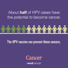 Most people get HPV at some point in their lives, and almost half of these HPV cases have the potential to become cancer. The HPV vaccine can prevent HPV -- and several types of cancer. #endcancer