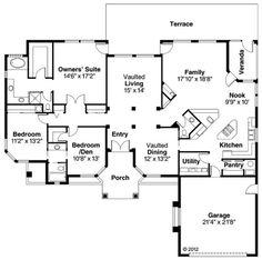 Mediterranean Style House Plan - 3 Beds 2.50 Baths 2396 Sq/Ft Plan #124-429 Floor Plan - Main Floor Plan - Houseplans.com