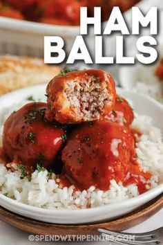Ham balls in sauce is a great meal served over rice, or even makes an easy appetizer. Made with simple ingredients (including leftover ham), they are sure to be a favorite! #spendwithpennies #hamballs #entree #appetizer #recipe #easy #best #baked #oven #ham #leftoverham Pork Ham, Pork Ribs, Pork Recipes, Cooking Recipes, Fun Recipes, Meatloaf Recipes, Meatball Recipes, Recipes Dinner, Delicious Recipes