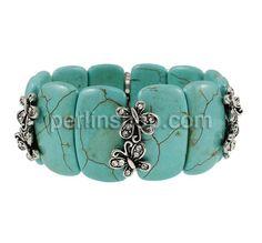 Mode Türkis Armband, Synthetische Türkis, mit Zinklegierung, antik silberfarben plattiert, mit Strass, 11.50x22x8mm, Länge:ca. 7.5 Inch, perlinshop.com