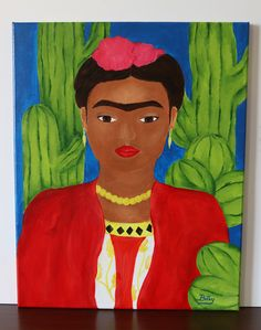 Frida Kahlo Frida Paintings, Acrylic Painting Canvas, Cactus Paint, Things To Come, The Originals, Disney Princess, Disney Characters, Artist, Artwork