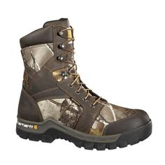 Carhartt CMF8179 8 Work Flex Mens Boots Wide Width Camo Ins 12 W Genuine full grain waterproof leather. Real Tree®xtra camo. Waterproof membrane, LitefireTM insulation technology-800 g. Duel density rubber outsole with oil, chemical, and slip-resistant properties. 5 layer comfort construction, cushion comfort footbed.  #Carhartt #Shoes