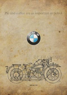 BMW R47 1927 Motorcycles quotePie and coffee are as by drawspots, $38.00