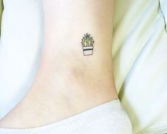 pinterest: @lilyosm | tini potted plant cactus tattoo tat design doodle ankle foot