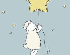 Lamb Nursery Art Lamb Moon and Stars Dream by SweetMelodyDesigns