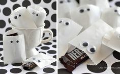 Send the kiddies home with some ghostly treats in these easy-to-make Halloween treat bags.