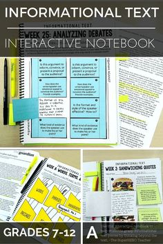 Use this informational text interactive notebook to help students think beyond the text. Great for middle and high school English grades 7-12!