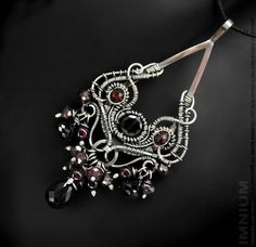 Blood red pendant - goth wire wrapped crimson garnet black spinel elaborate victorian swirls filigree