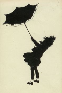 images of silhouettes of children in rain | Old Postcard Wednesday --Child's silhouette, wartime Germany
