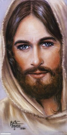 """My favorite painting of Christ. """"The Masterpiece"""" by Bette Myers. Fascinating story behind it: """"It was in 1974, I had a cardiac arrest. The doctor said I died. I can honestly say, """"death is beautiful."""" I went through an intensely bright heavenly light. My eyes were opened wide and the warmth went through me. I had no pain or worry. I loved it! All of a sudden a figure came before me. I did not guess, I knew it was """"Jesus""""! He spoke to me lovingly in His magnificent voice..."""" (Look up story)"""