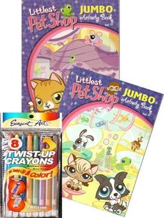 Littlest Pet Shop Coloring Book Set with Twist-up Crayons by Littlest Pet Shop. $12.95. Each book measures 8 x 11 inches, and is 90 pages.. Comes with a package of twist-up crayons in 8 brillant colors.. Set of two jumbo Littlest Pet Shop Coloring & Activity books.. Hours of games, puzzles and coloring fun!. Delight your Littlest Pet Shop fan with this set of two Littlest Pet Shop Coloring and Activity books by Hasbro. This set comes with a package of 8 twist-up crayons.  ...