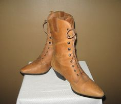 Vintage Caramel Tan Tall Ankle Lace Up Country Western Cowboy Granny Boots Size 8.5. $48.00, via Etsy.