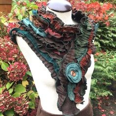 Wool Ruffled Scarf, Hand Crafted from Upcycled Sweaters, Earth Tones, Extra Long, Cowl Collar, Flower Pin, #SC175