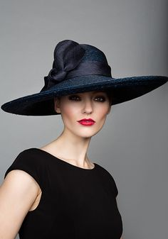 Rachel Trevor Morgan Millinery S/S 2015, R15101 Navy Italian straw down brim with self straw twist
