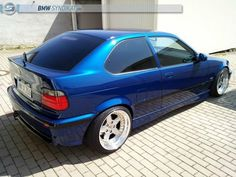 Blue bmw e36 compact with culture classic OZ AC Schnitzer type 1