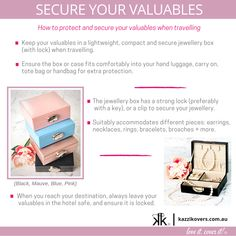 Secure your valuables when travelling with the exclusive Kazzi Kovers lightweight jewellery box. This stylish and multi-purpose jewellery box is compact, lightweight and it is secured with an oval-shaped metal lock with key. The exterior is crafted from quality PU Leather. The structure is made from medium density fibreboard (MDF) which is exceptionally stronger and more durable than regular cardboard jewellery boxes. Available in pink, black, blue and mauve.