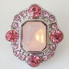 Bouton pression chunk pour bijoux à pression métal chic carré et strass rose