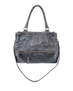 L0M93 Givenchy Pandora Medium Leather Satchel Bag, Mineral Blue