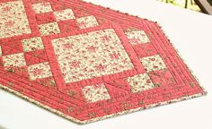 Quilted Table Runner, Pink Coral Tan, Summer Table Quilt, Flowers and Birds, Roses, Floral Table Topper, Quiltsy Handmade by RedNeedleQuilts on Etsy
