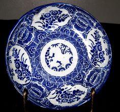 Antique Japanese Porcelain Avita Blue & White Leaves & Flower Plate