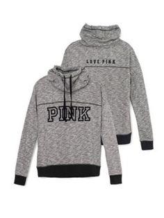 Victoria's Secret Pink Cowl-neck Pullover Crew Large L Sweatshirt