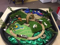The Train Ride small world play by Linda Year 1 Classroom, Tuff Spot, Foundation Stage, Eyfs Activities, Sensory Garden, Train Table, Small World Play, Sensory Table, Play Centre