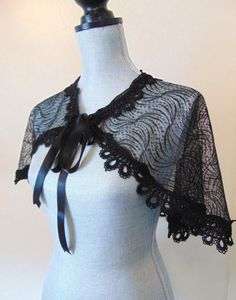 Black Lace Bridal Capelet Bolero Shrug Cover Up by Sparrowstation