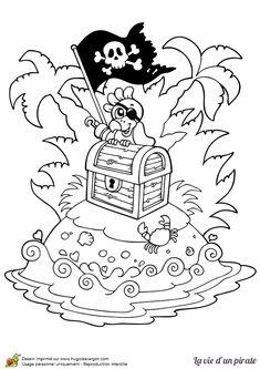 Coloriage d'un coffre au trésor au sommet d'une petite île avec un perroquet posé dessus - Hugolescargot.com