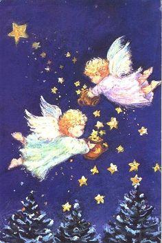 Anjinhos semeam estrelas, cartão de Natal, Inglaterra, sem data..