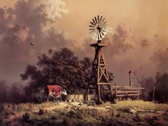 ⏰ Windmill /Wind Turbine photo of the day. West Kansas is the home of many Wind Turbines. Artist and date unknown Farm Windmill, Windmill Art, Pompe A Essence, Old Windmills, Farm Paintings, Country Art, Country Life, Country Roads, Cowboy Art