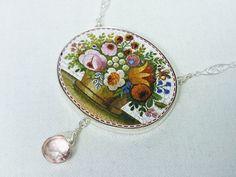Micro Mosaic Flower Basket Antique Italian Grand Tour Silver