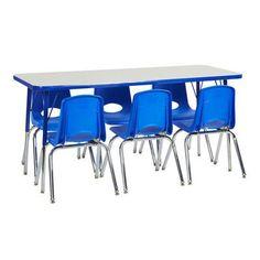 "ECR4Kids 7 Piece Rectangular Activity Table  & 12"" Chair Set Top Finish: Gray, Side Finish: Navy, Leg Type: Standard Leg with Ball Glide"