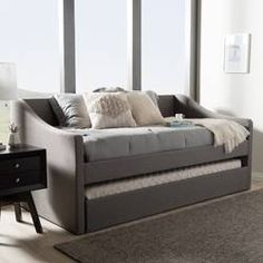 Shop for Baxton Studio Kallikrates Modern Daybed with Trundle Bed. Get free delivery On EVERYTHING* Overstock - Your Online Furniture Outlet Store! Get in rewards with Club O! Daybed With Trundle Bed, Trundle Mattress, Trundle Bed With Storage, Upholstered Daybed, Sofa Bed, Daybed Room, Mattresses, Daybed Sets, Contemporary Daybeds