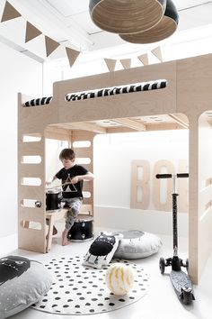 Rafa-kids F bunk bed and B bench under it - Let's Play.