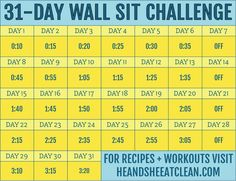 31-Day Wall Sit Fitness Challenge #heandsheeatclean #workout #fitness #wallsit Wall Sit Challenge, 31 Day Challenge, Squat Challenge, Challenge Group, Fitness Herausforderungen, Fitness Plan, Workout Fitness, Easy Fitness, Fitness Journal