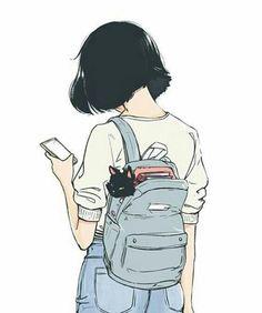 The girl with a cat modern art illustration manga art drawing sketch inspiration anime art Illustration Manga, Simple Illustration, Girl Illustrations, Digital Illustration, Art Manga, Art Anime, Manga Girl Drawing, Cute Girl Drawing, Anime Art Girl