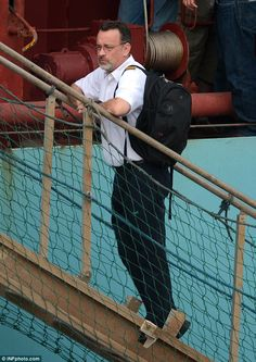 """Tom Hanks spotted while filming for """"Maersk Alabama"""""""