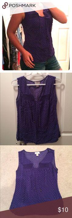 LOFT V-neck, purple tank top with tassels LOFT, purple, patterned, tank top with tassels. Excellent condition! LOFT Tops Blouses