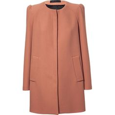 Zara Coat With Gathering On The Shoulder ($159) ❤ liked on Polyvore featuring outerwear, coats, jackets, coats & jackets, zara, peach, zara coat and brown coat