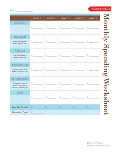 Track Where Your Money Goes with This Monthly Spending Worksheet: Monthly Spending Worksheet