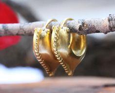 Gold Hoop Earrings Unique Gold Earrings Ethnic Gold | Etsy