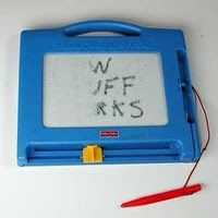 Magna Doodle! Be careful...don't press to hard, or they wont work!