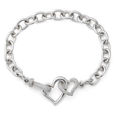 1/10 CT. T.W. Diamond Heart Link Bracelet  found at @JCPenney