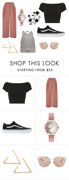 """Black and Pink"" by marthasloots ❤ liked on Polyvore featuring Helmut Lang, Topshop, Vans, Olivia Burton, Christian Dior and Michael Kors"