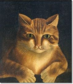 American - Portrait of a Red Tiger Cat with Thirteen Toes c.1850