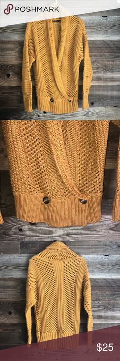 *2 for $40* Gorgeous gold/yellow sweater **2 for $40** add 2 qualifying items to bundle and make offer!  Yellow/gold sweater. Can be worn open like a cardigan or buttoned on the bottom as shown. 85% acrylic 15% nylon. Good condition. Thick sweater material. kerisma Sweaters