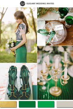 2015 vintage emerald and gold metallic wedding color ideas