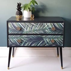 SOLD Upcycled Mid Century Tropical Botanical Palm Print Pair of Drawers Sideboard Upcycled Furniture Botanical century drawers mid Pair Palm Print Sideboard SOLD Tropical Upcycled Paint Furniture, Furniture Projects, Furniture Design, Wallpaper Furniture, Bedroom Wallpaper, Bedroom Furniture, Wallpaper Drawers, Furniture Showroom, Furniture Movers