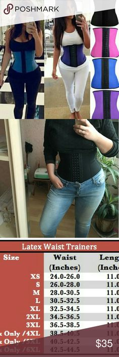 """9 steel boning  latex waist trainer postpartum 100 % Latex Waist Trainer 9 steel bonning  3 hook 11 """" tall .  great for short or long  1) ?Workout Womens Waist Trainers gives u great back support ,makes your?posture better hot slim body shaper  2) ?Waist Trainer Corset,?works miracles!?  it slims the tummy down making you look with a glass shape super comfortable and totally camouflaged under clothing  PLEASE ALWAYS CHECK SIZE CHART FOR SIZES  AVALIABLE IN BLACK BLUE PURPLE AND BLUE FROM XS…"""